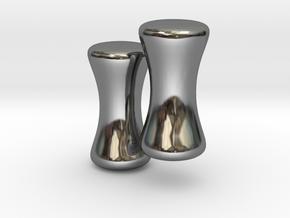 8G Plug Studs, Rockline (pair) in Fine Detail Polished Silver