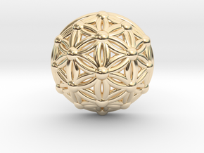 Flower Of Life Dome in 14K Yellow Gold