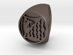 Custom Signet Ring 44 in Polished Bronzed Silver Steel