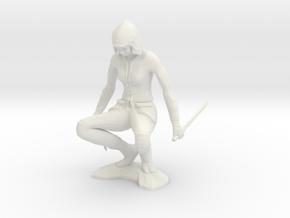 Crouching Ninja in White Natural Versatile Plastic
