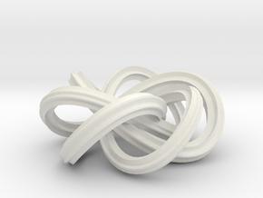Trefoil Knot in White Natural Versatile Plastic