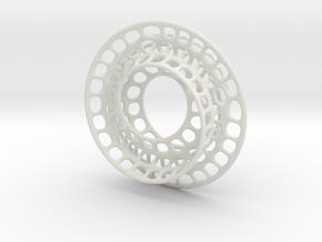 Quarter twist Möbius strip (color) in White Natural Versatile Plastic