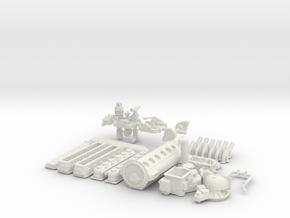 1/8 Allison W P51 Exhaust in White Natural Versatile Plastic