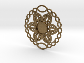 Flower charm in Natural Bronze