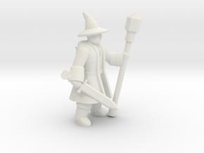 General Wizard Mini (Sword and Staff) in White Natural Versatile Plastic