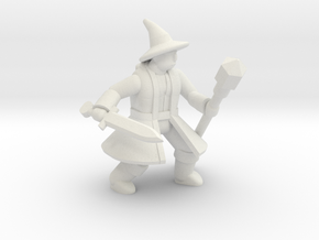 General Wizard Mini 2 (Sword and Staff) in White Natural Versatile Plastic