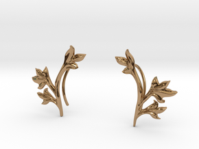 Tea Leaves Ear Climber in Polished Brass