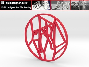 Personalised Voronoi Circular Pattern Coaster (4) in Red Strong & Flexible Polished