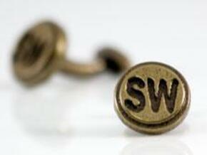 Cufflink 2 in Polished Gold Steel