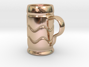 Beer Mug Keychain in 14k Rose Gold Plated Brass