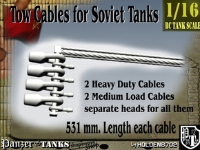 1-16 Soviet Tank Tow Cables Set1 in White Natural Versatile Plastic