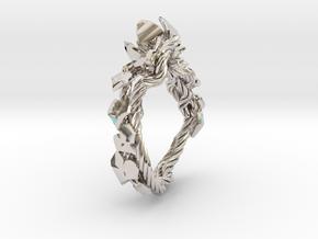 Garden Ring in Rhodium Plated Brass: 6 / 51.5