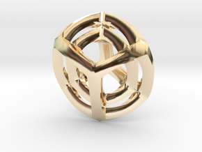 Tesseract Pendant in 14k Gold Plated Brass