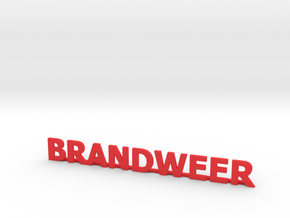 Letters Brandweer met steun 90 mm breed in Red Processed Versatile Plastic: 1:87 - HO