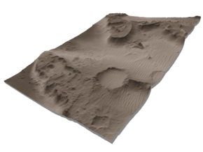 Mars Map: Martian Meanders - Sepia in Matte Full Color Sandstone