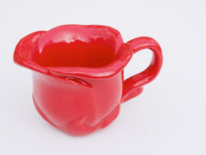 Flower Teacup in Gloss Red Porcelain