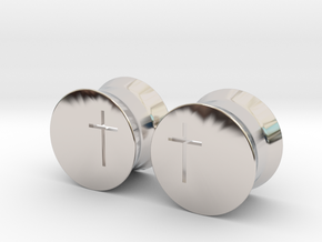 Crucifix Earring Gauges in Rhodium Plated Brass