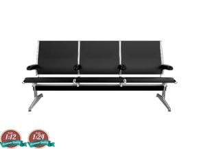 Miniature Eames Tandem Sling Seating - Charles Eam in Smooth Fine Detail Plastic: 1:24