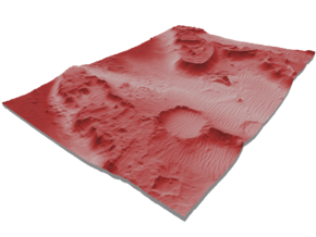 Mars Map: Martian Meanders - Red in Glossy Full Color Sandstone