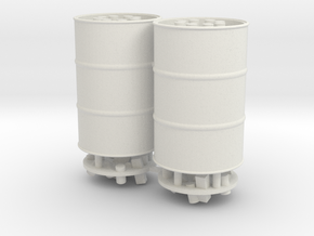 55 Gal Drum, Closed or Open Top with Trash, x2 in White Natural Versatile Plastic