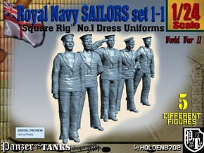 1-24 Royal Navy Sailors Set1-1 in White Natural Versatile Plastic