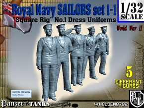 1-32 Royal Navy Sailors Set1-1 in Smooth Fine Detail Plastic
