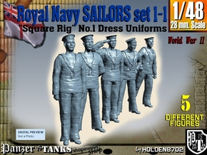 1-48 Royal Navy Sailors Set1-1 in Smooth Fine Detail Plastic