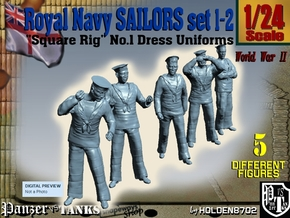 1-24 Royal Navy Sailors Set1-2 in White Natural Versatile Plastic