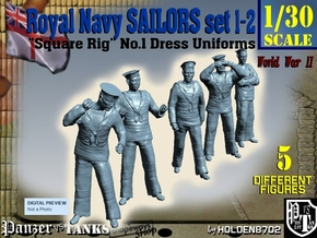 1-30 Royal Navy Sailors Set1-2 in White Strong & Flexible