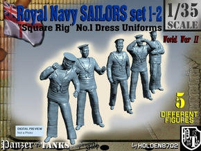 1-35 Royal Navy Sailors Set1-2 in Smooth Fine Detail Plastic