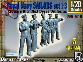 1-20 Royal Navy Sailors Set1-3 in White Natural Versatile Plastic