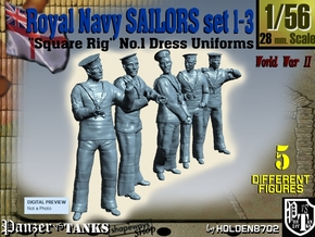 1-56 Royal Navy Sailors Set1-3 in Smooth Fine Detail Plastic