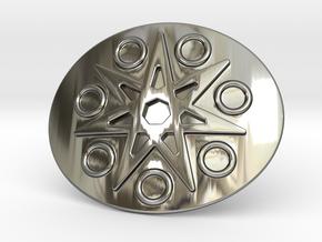 Eptagramma Belt Buckle in Fine Detail Polished Silver