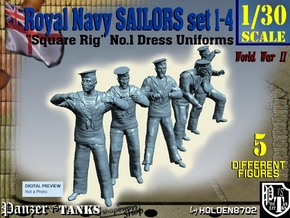 1-30 Royal Navy Sailors Set1-4 in White Natural Versatile Plastic