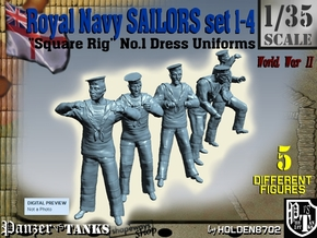 1-35 Royal Navy Sailors Set1-4 in Smooth Fine Detail Plastic