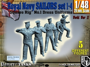 1-48 Royal Navy Sailors Set1-4 in Smooth Fine Detail Plastic