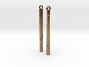 Ribbon Earrings in Natural Brass