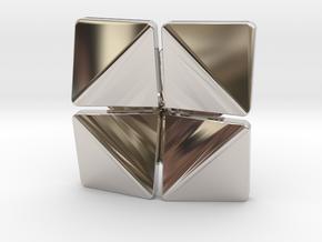Box Flower Pendant in Platinum