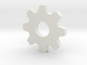 Gear Pendant in White Natural Versatile Plastic