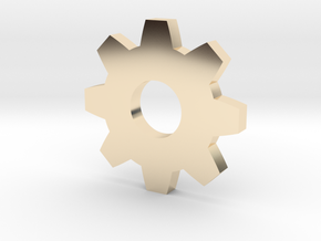 Gear Pendant in 14k Gold Plated Brass
