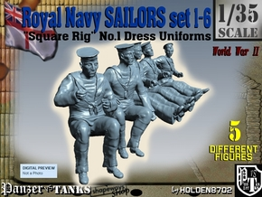 1-35 Royal Navy Sailors Set1-6 in Smooth Fine Detail Plastic