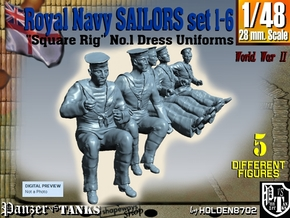 1-48 Royal Navy Sailors Set1-6 in Smooth Fine Detail Plastic
