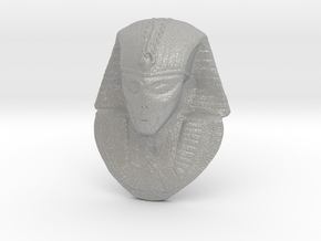 "Alien Gray Egyptian Pharaoh Head Pendant 1.5"" 38mm in Aluminum"
