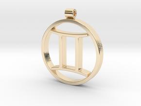 Gemini Zodiac Sign Pendant in 14k Gold Plated