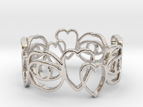 Hearts Ring Design Ring Size 6 in Platinum