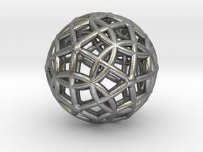 """Spherical Icosahedron with Dodecasphere 1"""" in Natural Silver"""