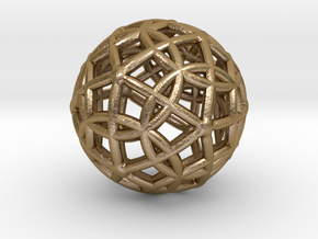 Spherical Icosahedron with Dodecasphere in Polished Gold Steel