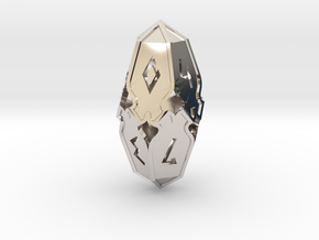 Amonkhet D10 gaming die - Large, hollow in Rhodium Plated Brass