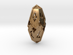 Amonkhet D10 gaming die - Small, hollow in Natural Brass