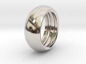 Ralph H. - Slick Ring Hollow in Rhodium Plated Brass: 6 / 51.5